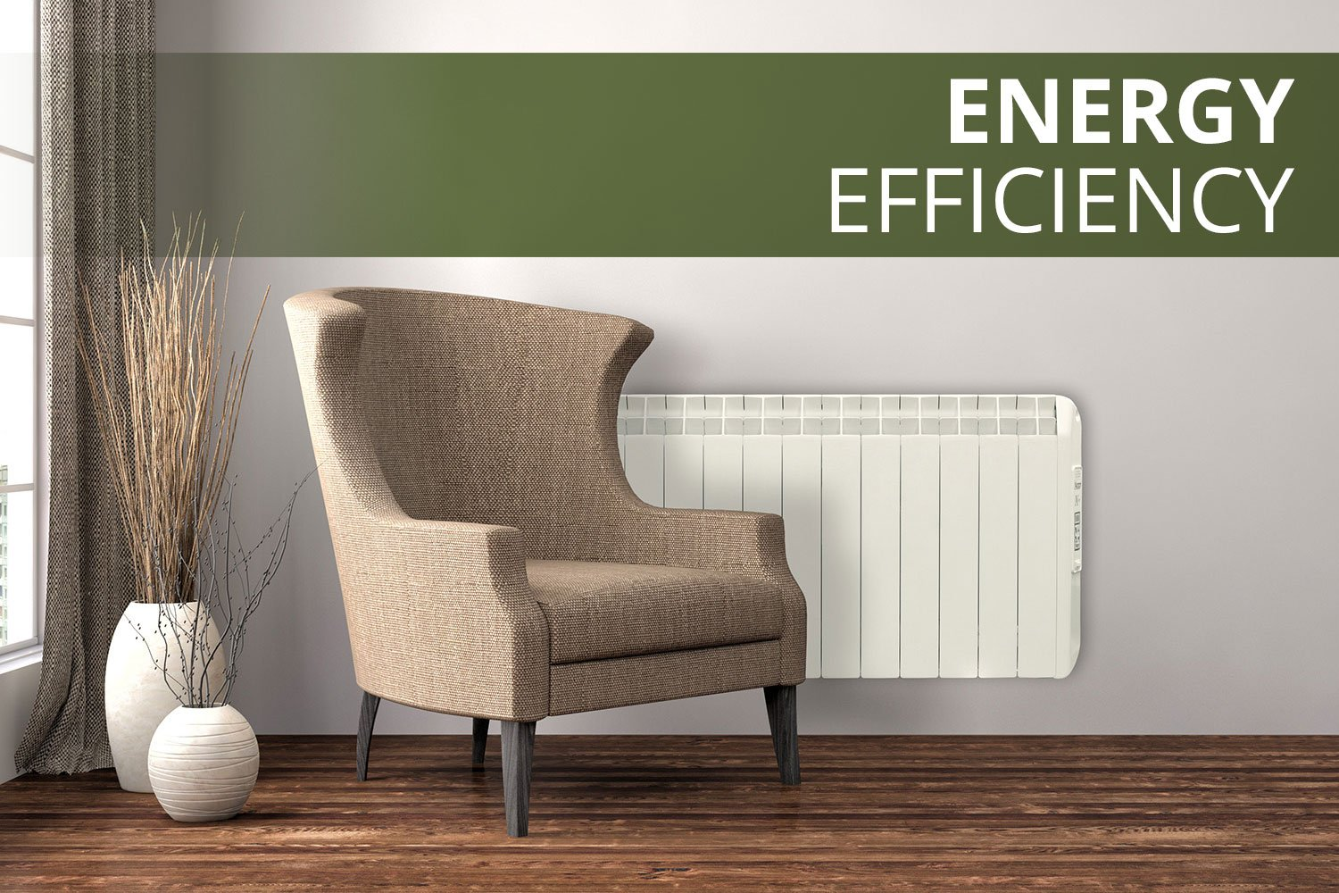 Armchair next to Farho electric heater in Energy Efficient room