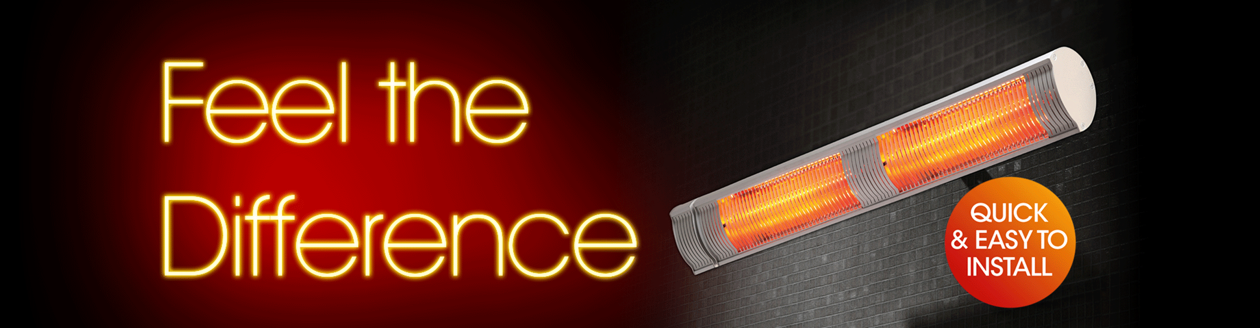 Feel the difference infrared heater heading graphic