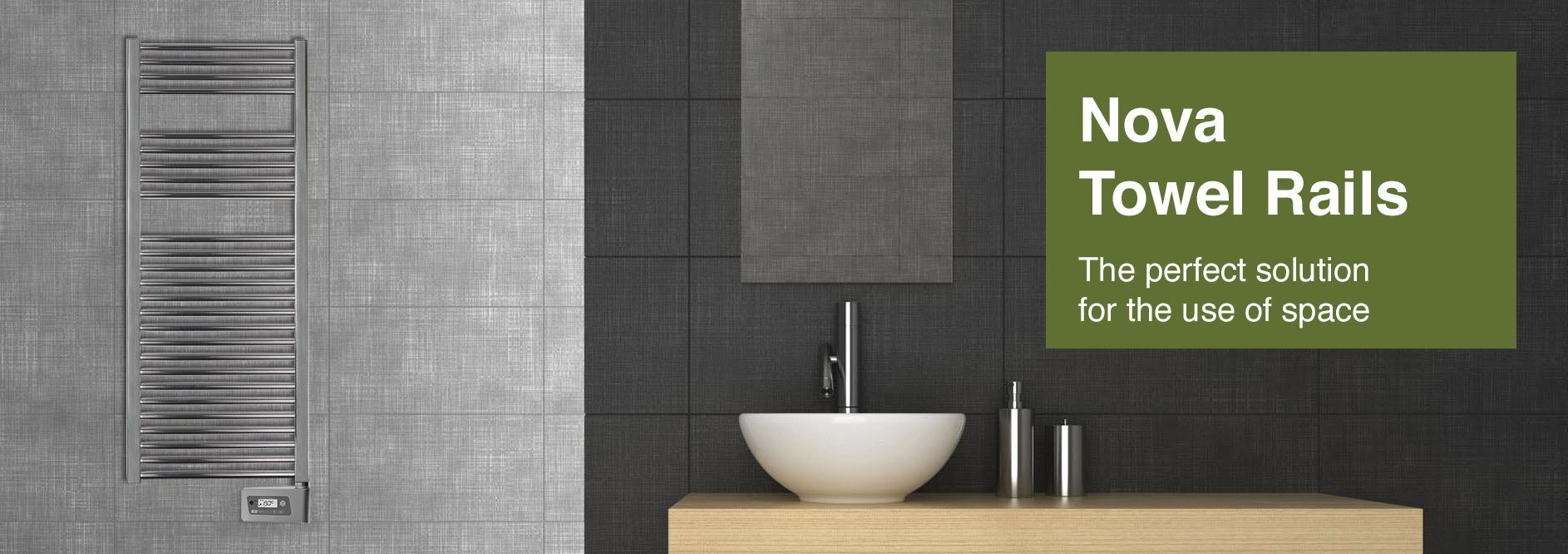 Nova Towel Rails electric heaters in modern bathroom